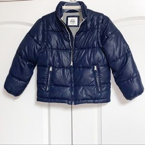 Mini Boden Blue Convertible Puffer Vest Jacket 7 8